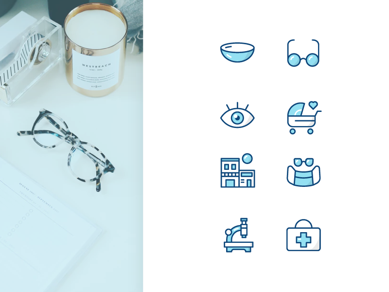 Eye Center Iconography designer healthcare science glasses center eye system illustration iconography icons icon