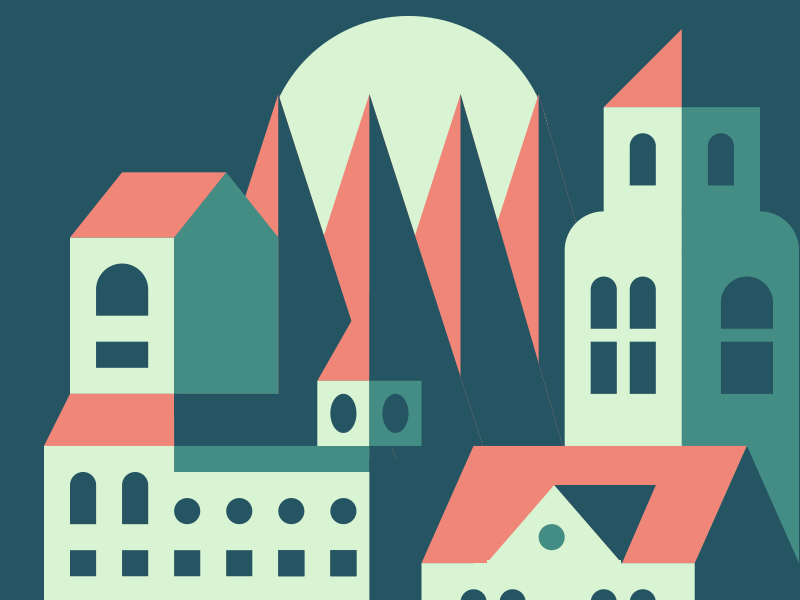 Moody Town moon night sun town trees palette colors minimal city icons illustration