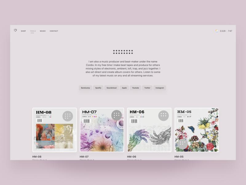 New Cordio Music Page artist product design minimalism cover art artwork album music code webdesign web react