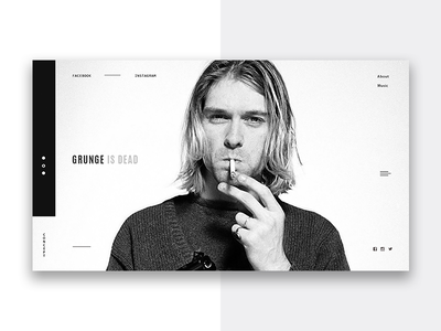 cobain web ux ui pegs interface grayscale digital design clear black cobain nirvana