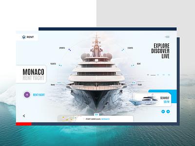 Yacht rent yacht free store digital site service clean desktop minimal white clear interface ux design web ui