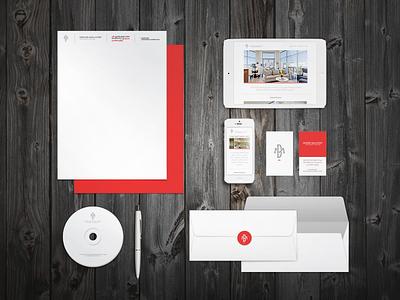 Denise Maloney Interior Design identity brand logo mobile red