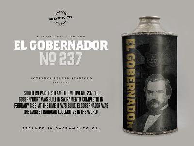 El Gobernador N0.237 craft beer beer sacramento packaging stanford old timey