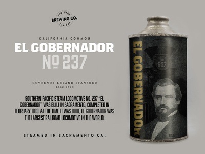 El Gobernador N0.237 craft beer beer sacramento packaging stanford old timey