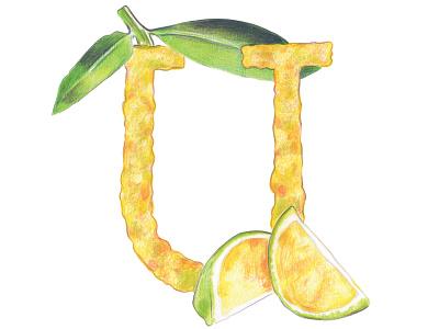 U is for Ugli Fruit healthy fruit letter fruit alphabet handlettering colored pencils typography hand drawn typography art illustration
