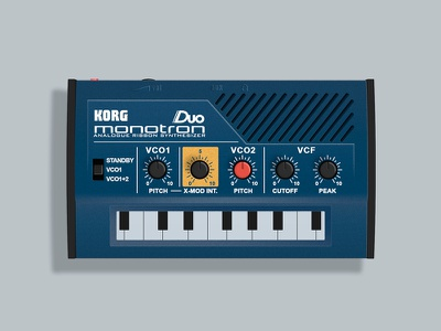 Korg Monotron Duo Photoshop Rendering korg monotron duo synth synthesizer vco lfo vcf ribbon ms-10 ms-20