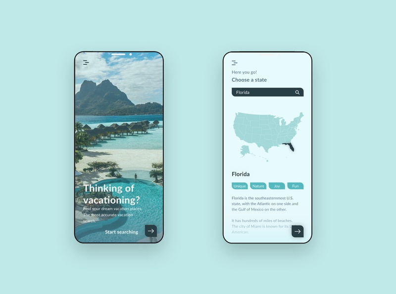 Vacationing App Design adobe xd ux design ui design ui ux mobile app