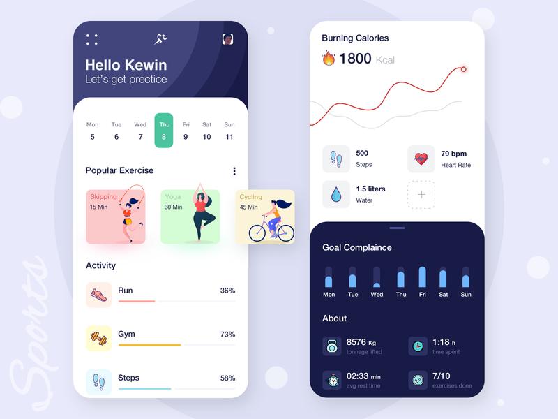 Healthy Life Application vector illustraion cycling yoga design uiux ui sports healthcare health app healthy health app design app
