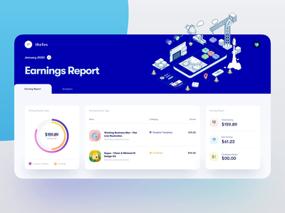 Earnings Report Dashboard - UI Design | Elements table charts dashboard app dashboard design lovely pastel ui kit dashboard ui clean website clean layout card ui design cards card block dashboard tranmautritam creative minimal clean ui design