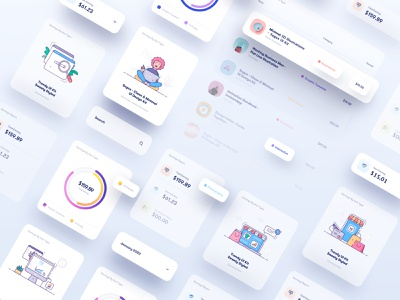 Dashboard Interface Elements app icon icon icons statement earning finance chart interaction ux design ui design block card shadow elements element interface ux ui design app