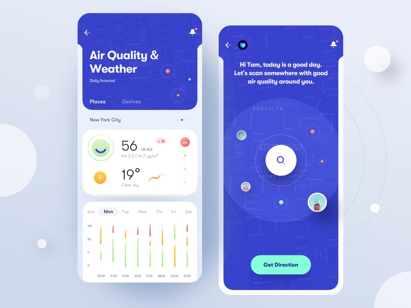 Air Quality & Weather Mobile App Concept scan search icon mobile minimal product design clean app direction location map chart blue ux design ui design ux ui weather app weather air