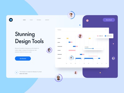 Freebie | Design Tool Landing Page header menu call to action button popup user interface web design web landing page hero header keyframe avatar timeline chart free download ui kit sketch freebie ux ui