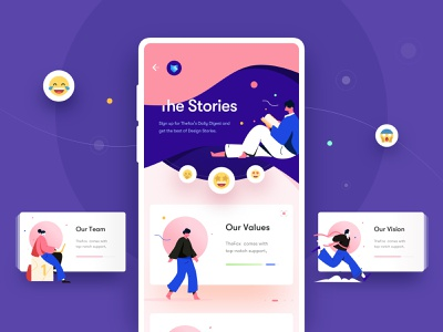 Freebie - The Stories 😂🤩😍 sketch app sketch mobile app freebie swipe about us about company user interface elements cards emoticons concept ui design ux design app mobile ux ui