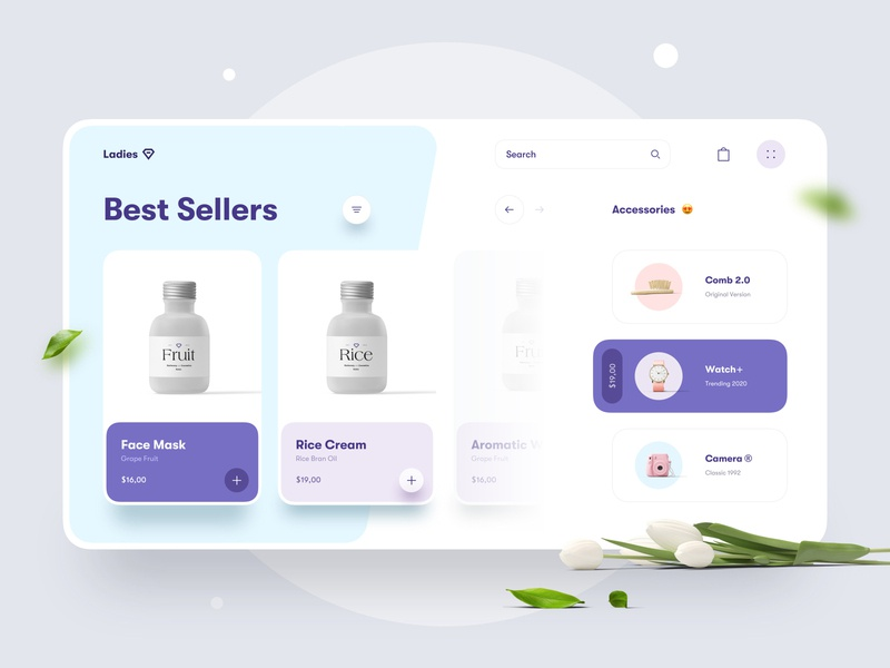 [FREE] Ladies | Beauty Store Website Concept product minimal clean typography camera watch shopping cart shopping cart website interface store shop beauty card ux ui web app free