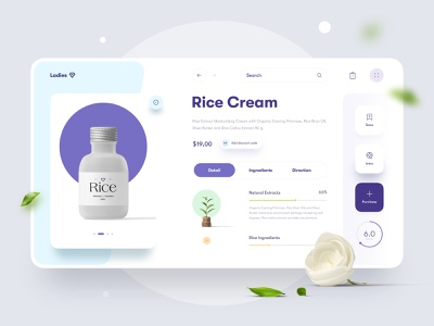 Ladies | Beauty Store Website | Product Page cart typography store shop website web ui ux search interface tab progress rice item clean concept product minimal beauty app