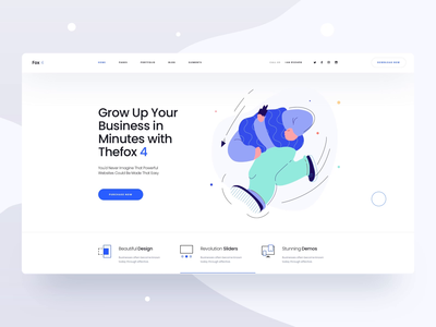 Thefox 4 Landing Page - Animation elegant modern plan pricing app page builder features illustration thefox one page landing page website web ux ui animated after effect minimal clean animation