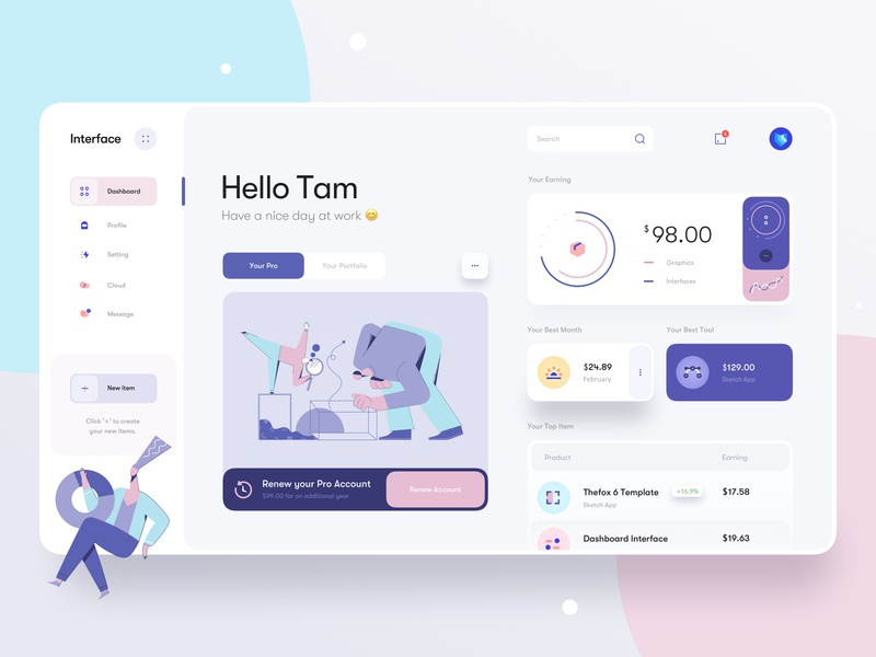 Interface Dashboard v2 money product account profile illustrations icons graphics button card chart illustration minimal clean app design app web design interface dashboard ux ui