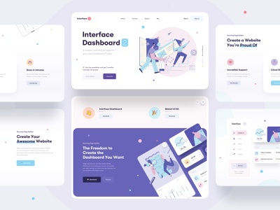 Interface Dashboard Builder - Landing Page icons chart clean minimal interface web design website web ux ui features card statement earning landing app illustration builder dashboard landing page