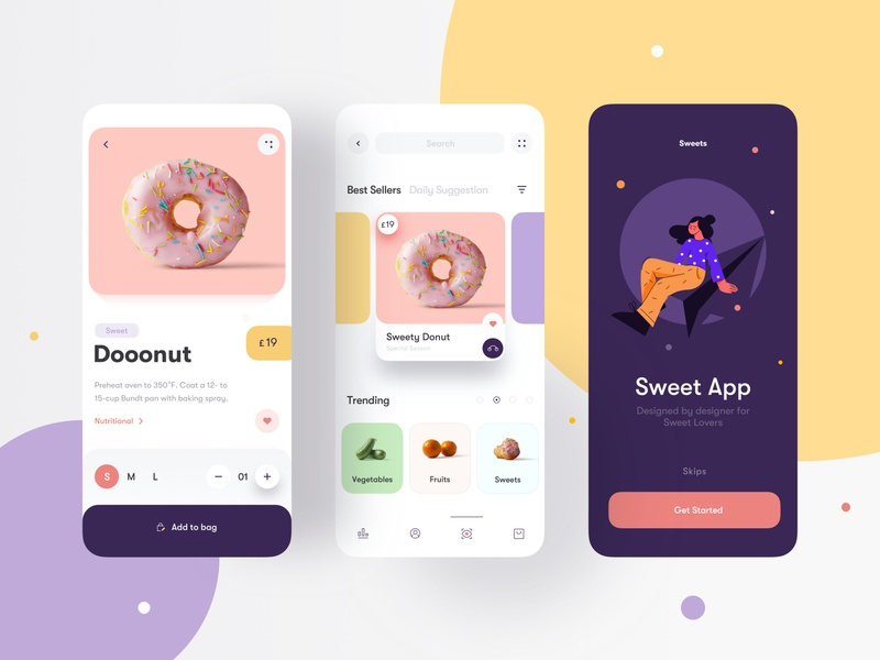 Sweets Mobile App 🍭 user interace fruit food cake candy illustration interface pastels check out mobile shop store sweets mobile app clean minimal ui card app mobile ui ux