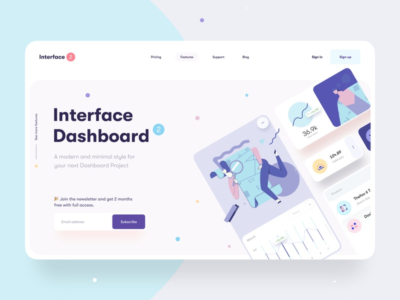 Interface Dashboard Builder - Hero Banner clean minimal landing page landing web design web statement header card newsletter elements chart illustration hero banner ux design ui design dashboard ui ux interface