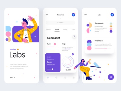 Interface Labs - Mobile App Concept for UI Designers menu ios task design business illustration chart card tabs fonts concept ui designer minimal product design mobile app mobile labs interface ux ui