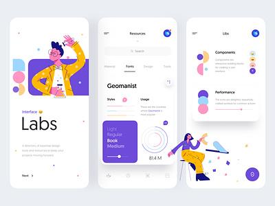 Interface Labs - Mobile App Concept for UI Designers menu ios task design business illustration chart card tabs fonts concept ui designer minimal product design mobile app mobile labs interface ux ui