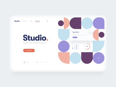Minimal Hero Concept for Studio App interface navigation button color palette shapes geometry cta call to action fonts typography product design app website concept hero clean minimal ui design ux ui