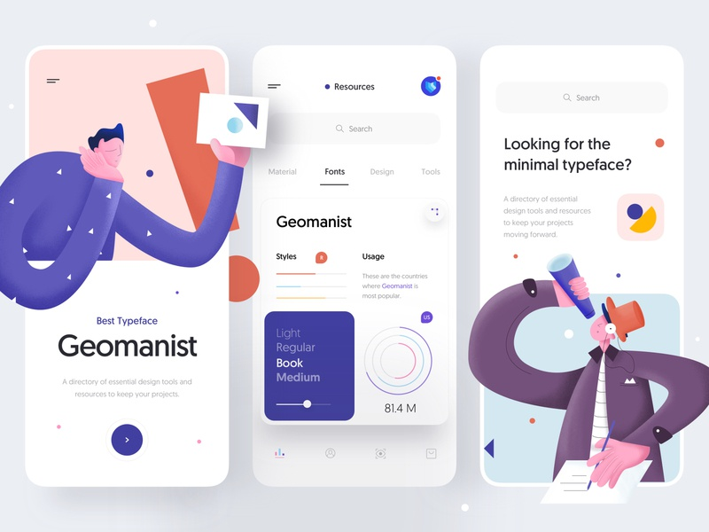 Interface Labs v2 - Mobile App Concept for UI Designers clean minimal character design geometry fonts design ui designer labs ios task tab icon interface mobile app typography illustration app mobile ux ui