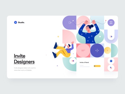 Invite Designers - Hero Website Concept designer invite mockup abstract geometry character concept clean minimal header hero interface user interface ui ux product design mobile illustration branding web design