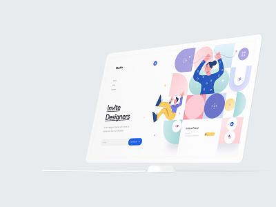 Invite Designers - Hero Website Concept designer invite mockup abstract geometry character concept clean minimal header hero interface user interface ui ux product design mobile illustration branding web design