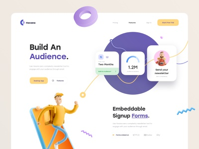 Havana: Landing Page email form sign up concept clean minimal header product design user interface call to action elements 3d illustration 3d ux design ui design ux ui website web landing page
