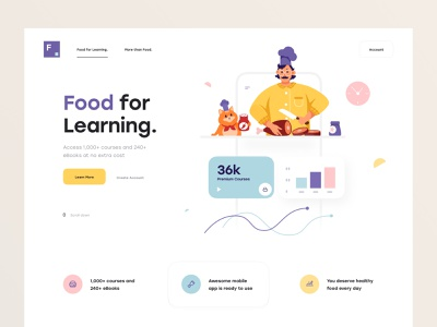 Food for Learning web color clean minimal app website card character design learning platform learning class course chart landing page illustration food ux design ui design ux ui