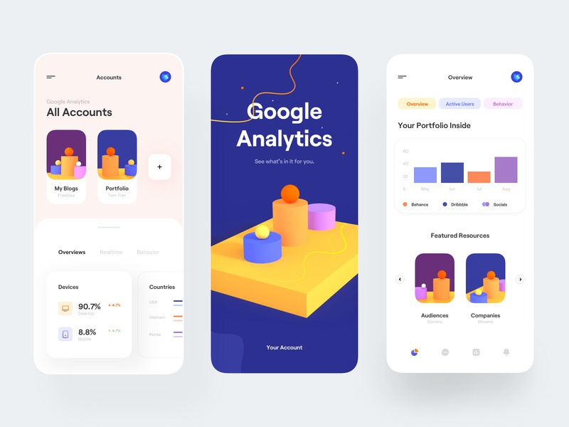Analytics | Mobile App ux design ux ui design ui interface illustration mobile design mobile app typography clean minimal mobile app color 3d render 3d concept 3d chart analytics google