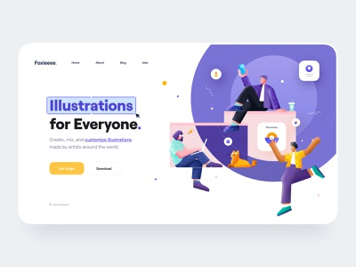 Creative Team Illustration illustrator devices laptop mobile woman man cat browser interface elements workplace work working illustration team landing page ux design ui design ux ui
