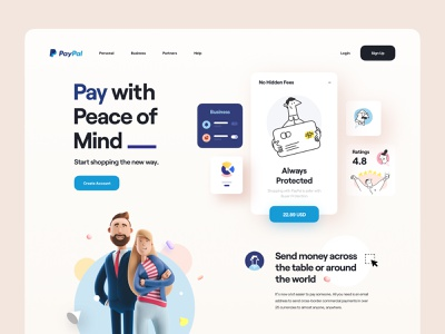 Paypal - Landing Page Concept clean website web 3d character credit card send payment character illustration user interface card interface 3d elements 3d landing page payment paypal ux design ux ui design ui