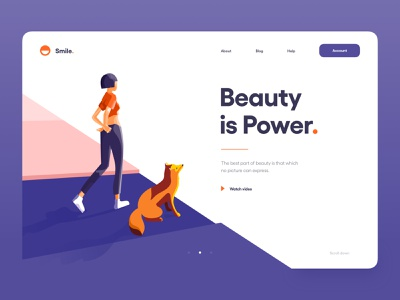 Illustration for Smile 😊 minimal clean web design perspective smile typography landing page website web illustrator color orange fox girl character illustration ux design ux ui design ui