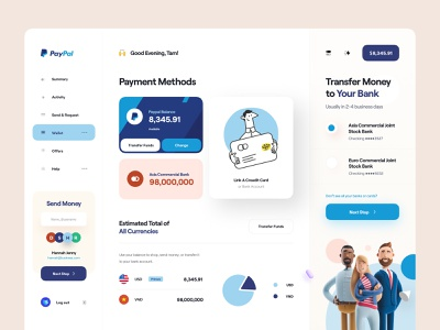 Paypal - Web App Concept clean website user interface card chart product design app design character illustrator illustration 3d illustration 3d credit card dashboard payment app web app paypal ux ui