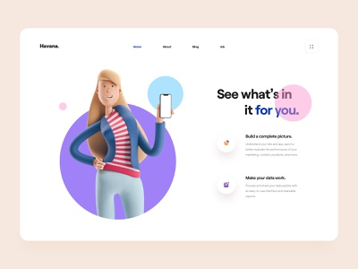 Havana - Animation analytics business minimal clean ui interaction interaction 3d illustration after effect animation ux design ui design web design typography ui illustration ux web 3d animation 3d character 3d