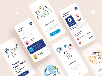 Paypal - Mobile App web payment money interactive interaction animation character card concept mobile app app mobile clean minimal ux design ux illustration ui design ui paypal
