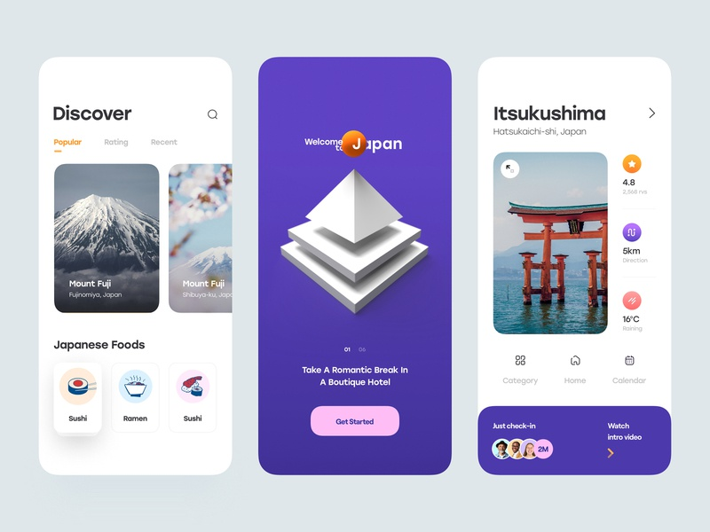 Japan - Travel Mobile App mobile menu menu rating direction weather trip minimal card fuji mount app mobile app mobile travel japan ux design ui design clean ux ui
