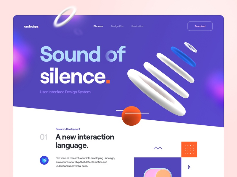 Undesign - Sound of Silence ui design illustrator design kit app typography illustration 3d illustration button user interface design system website web ux banner cover sound abstract 3d object 3d ui