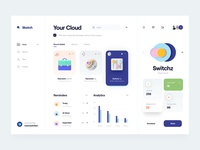 Cloud color ui kit card navigation menu icloud cloud reminders task analytics minimal clean dashboard icon 3d icon 3d ui design ux design ui ux
