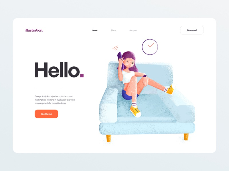Phone Call - Illustration website web device glass shoes chair clock wifi iphone color cute girl clean illustration minimal clean illustration ui design ux ui phone