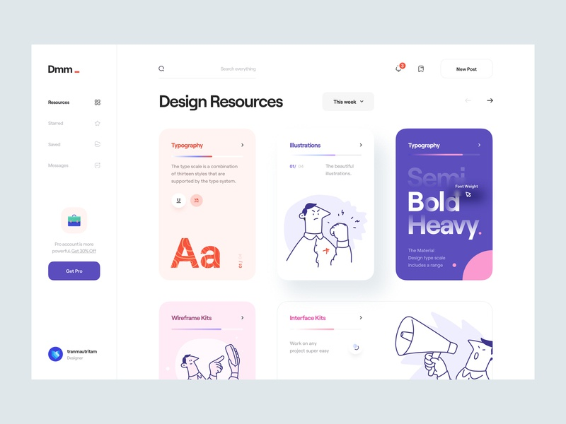 Dmm_ character blog news design resource sidebar illustration typography web app app minimal clean card wireframe web white black ux design ui design ux ui