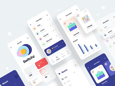 Cloud - Mobile App analytics chart menu reminders color minimal list 3d icon icon 3d clean card app design ui design mobile app app mobile ui ux cloud