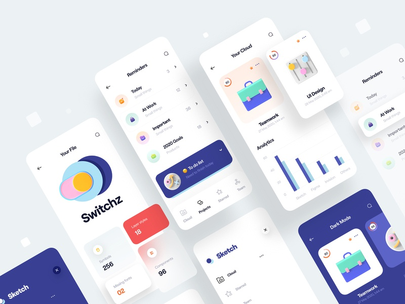 Cloud - Mobile App analytics chart menu reminders color minimal list 3d icon icon 3d clean card app design ui design mobile app app mobile ui ux cloud
