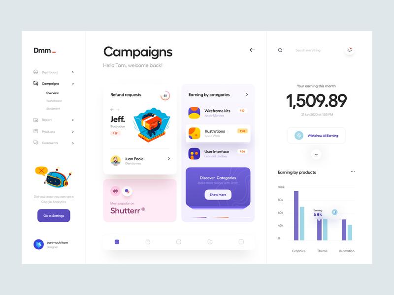 Dmm_ user interface wireframe color flat illustration illustration website web app app web chart analytics earning payment card campaign dashboard ux design ui design ui ux