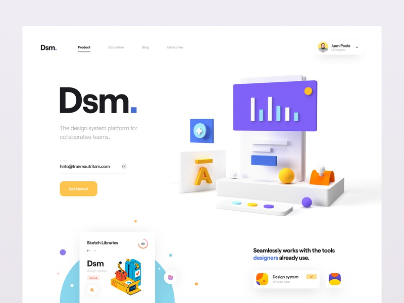 Dsm. website minimal clean button hero header elements chart illustration 3d illustration 3d user interface invision dsm design system web app web ui design ux design ui ux