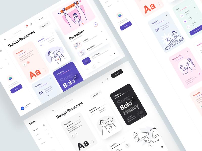 Dmm_ character wireframe white news sidebar black blog web app design kit typography design resources illustration minimal clean card ux design ui design ux ui