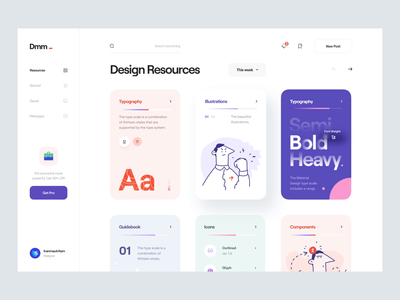 Dmm_ Animation sidebar character imac illustration typography clean minimal black scrolling slide design resources card user interface interaction animated animation ui design ux design ui ux